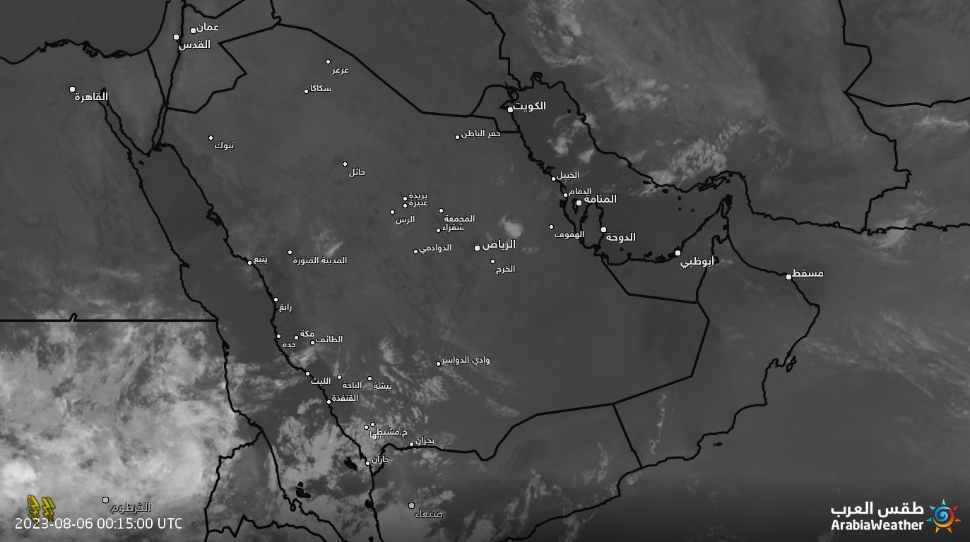 موقع أبو سعد للطقس /الغيوم الجزيرة العربية بالاشعة تحت الحمراء ( ثابت)